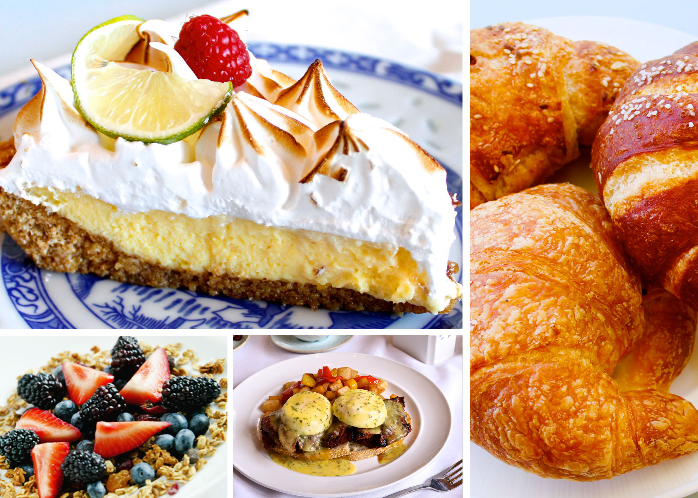 collage of pastries and food dishes