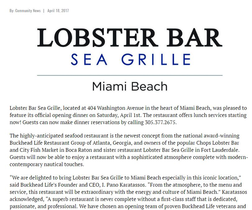Community Newspapers Covers Lobster Bar Sea Grille Miami Beach