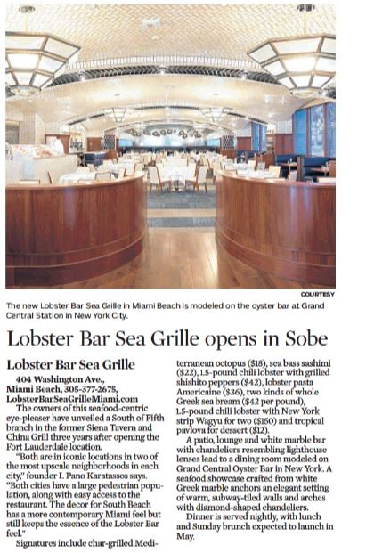 Lobster Bar Sea Grille featured in The Florida Sun Sentinel