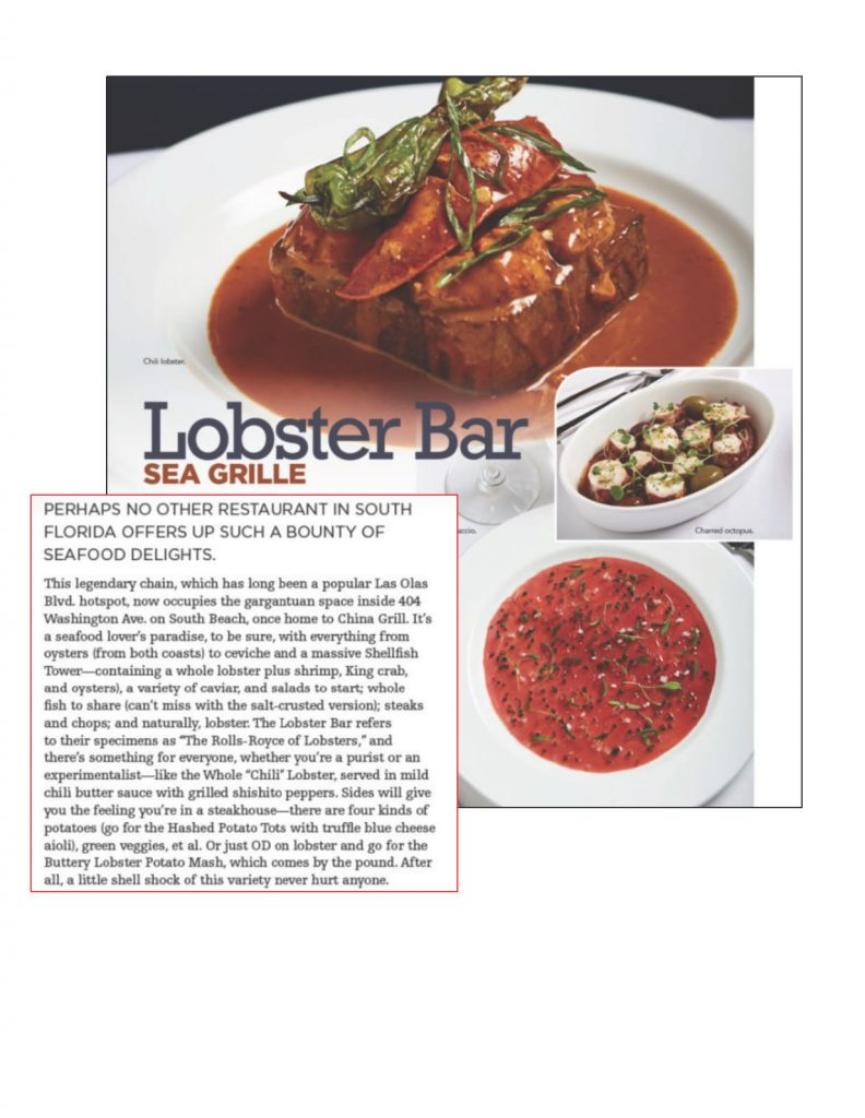 Thirsty Magazine Names Lobster Bar Sea Grille among Best Places to Drink South of Fifth