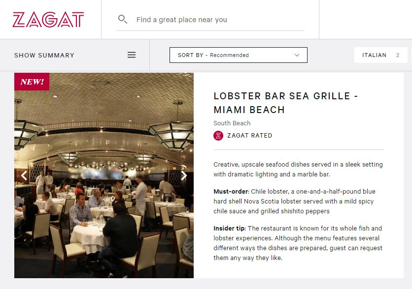 Zagat Names Lobster Bar Sea Grille one of the Hottest Restaurants in Miami