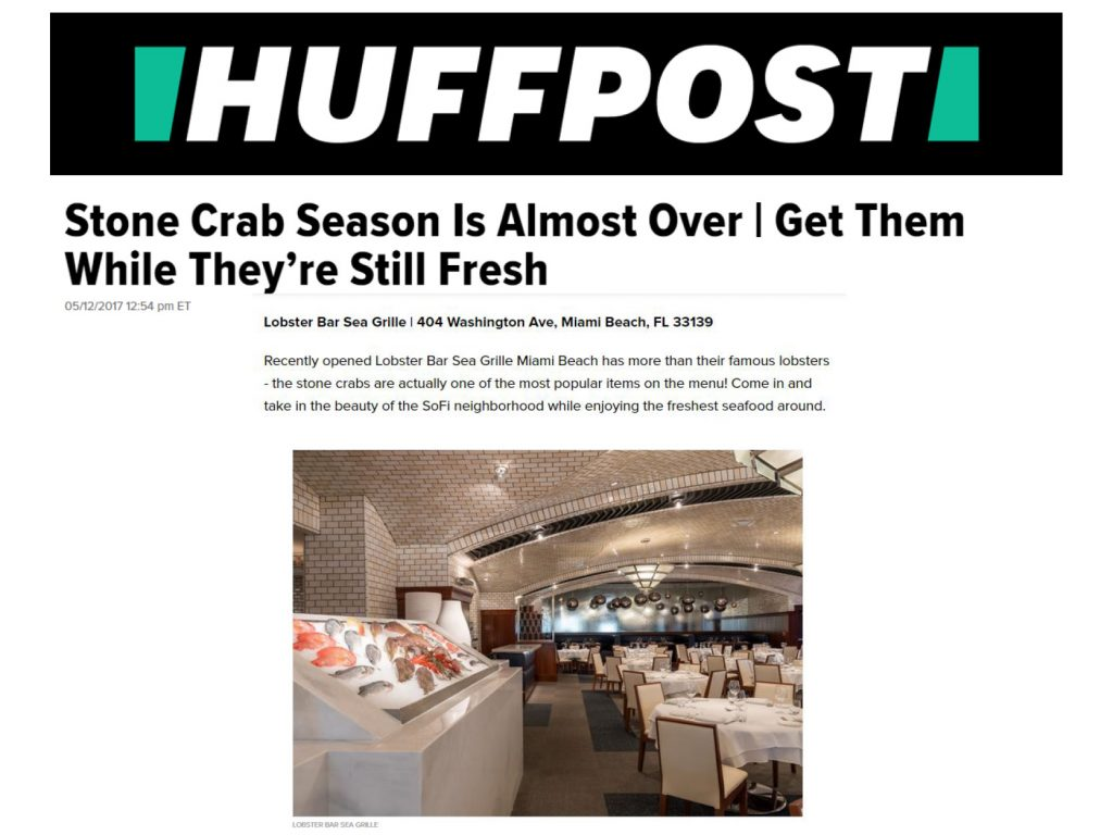 The Huffington Post Names LBSG Miami Beach one of the Top Spots for Stone Crab in Miami