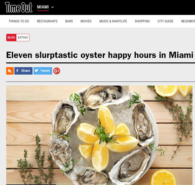 Time Out Miami Names Lobster Bar Sea Grille Miami Beach Best for Oysters!