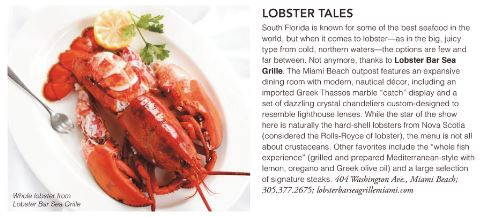 Lobster Bar Sea Grille Miami Beach named a Top Dining Destination in South Florida Luxury Guide