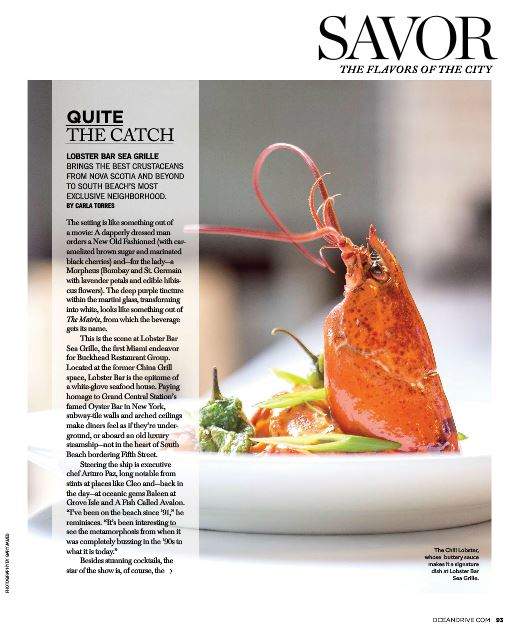 Lobster Bar Sea Grille Miami Beach featured in Ocean Drive Magazine
