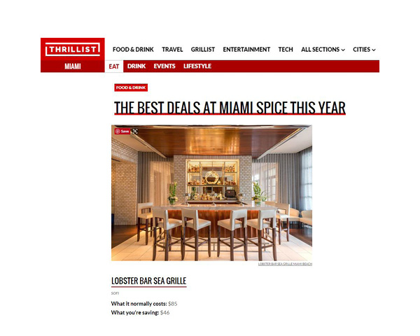 Thrillist Names Lobster Bar Sea Grille Miami Beach Among Top Destinations for Miami Spice