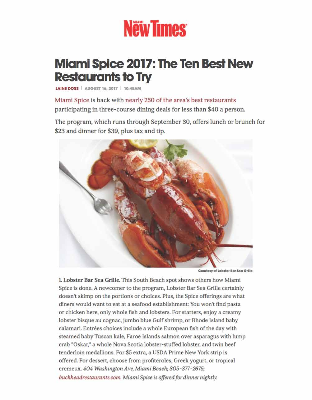 Lobster Bar Sea Grille Miami Beach named Miami Spice's Best New Restaurant to Try